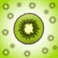 Piece of kiwi single on the fruit background Royalty Free Stock Image