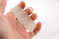 Piece of lined paper in hand Royalty Free Stock Photo