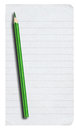 Piece of lined paper and pencil on white isolated pure background Stock Photography