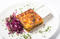Piece of meat pie with vegetable and garnish red cabbage Royalty Free Stock Photo