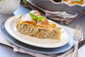 Piece of meat vertuta strudel traditional moldavian and romanian snail shaped pie Stock Image