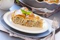 Piece of meat vertuta strudel traditional moldavian and romanian snail shaped pie Stock Image