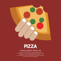 Piece of pizza in hand vector illustration eps Royalty Free Stock Photography