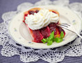 Piece of plum cake one on a plate Royalty Free Stock Photo