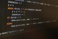 Piece of programming code in IDE.
