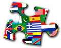 Piece of puzzle with international flags Stock Images