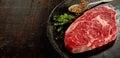 Piece of raw rib eye steak Royalty Free Stock Photo