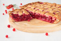 Piece of red currants pie yeast dough stuffed with Stock Photography