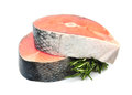 Piece of a salmon and rosemary on white Royalty Free Stock Image