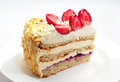 Piece of strawberry cake on white plate Stock Photo