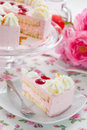 Piece of strawberry cream cake Stock Photos