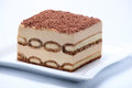 Piece of tiramisu cake on white plate Stock Photography