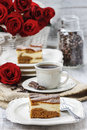 Piece of toffee and vanilla cake festive party dessert Royalty Free Stock Photography