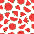Piece watermelon pattern. Seamless watermelons transparent pattern. Vector background with water melon slices Royalty Free Stock Photo