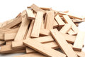 Piece of wooden brick of construction game on white Royalty Free Stock Photo