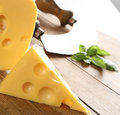 Piece of yellow cheese Royalty Free Stock Photos