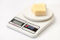 A piece of yellow cheese on a kitchen digital scale Royalty Free Stock Photo