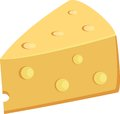 Piece Of Yellow Porous Cheese Food With Holes Vector Illustration Royalty Free Stock Photo