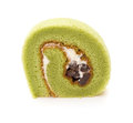 Piece of yummy cake made by green tea and mung bean on a white background Stock Photo