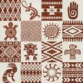 Pieces of American Indians ethnic patterns and symbols Royalty Free Stock Photo