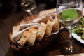 Pieces of bread on a basket in a restaurant Royalty Free Stock Image