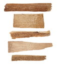 Pieces of broken planks isolated on white collection with clipping path Stock Photos