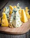 Pieces of cheese emmental and blue Stock Photography