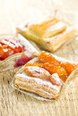 Pieces of fruit strudel Stock Photo