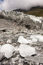 Pieces of ice fall from the Fox Glacier, New Zealand, South Island Royalty Free Stock Photo