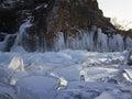Pieces of ice glisten in the sun lake baikal russia Stock Photos