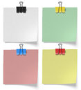 Pieces paper pinned binder clips Royalty Free Stock Photo