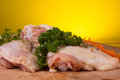 Pieces of pork on a cook table Stock Photography