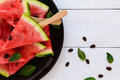Pieces of ripe watermelon on a stick on a black plate on a white background Royalty Free Stock Photo