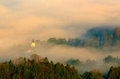 Pieniny bathed in the mist jaworki village with a distinctive white church poland Stock Photo