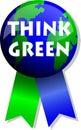 Piense el botón/EPS de la tierra verde Foto de archivo libre de regalías