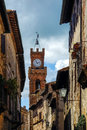 Pienza tuscany italy may clock tower in pienza tuscany on Stock Photo