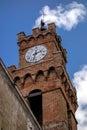 Pienza tuscany italy may clock tower in pienza tuscany o on Royalty Free Stock Photos