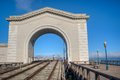 Pier archway san francisco usa with ship in background Stock Photography