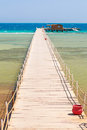 Pier on the beach of red sea in hurghada egypt Stock Photos