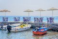 Pier, boats in Akrotiri, Santorini Royalty Free Stock Photo
