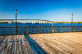 Pier and bridge over the Halifax River in Daytona Beach, Florida Royalty Free Stock Photo
