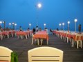 Pier cafe outdoor eating on this wooden structure here in hua hin thailand Royalty Free Stock Image