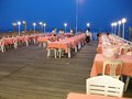 Pier cafe outdoor eating on this wooden structure here in hua hin thailand Royalty Free Stock Photos