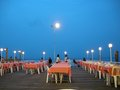 Pier cafe outdoor eating on this wooden structure here in hua hin thailand Stock Images