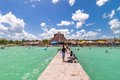 Pier in Caribbean Bacalar lagoon, Quintana Roo, Mexico Royalty Free Stock Photo