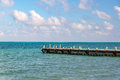 Pier and Caribbean Sea Royalty Free Stock Photo