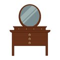 Pier glass with lot of drawers and round mirror