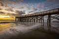 Pier at Ise of Palms Beach, in Charleston South Carolina at Sunr Royalty Free Stock Photo