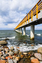 Pier or jetty concrete on the beach Royalty Free Stock Photography