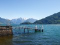 Pier on the lake pianello del lario of como italy Stock Photos
